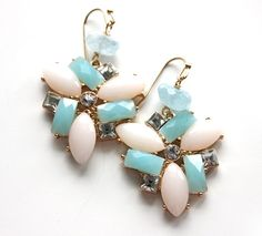 Blue aquamarine mint earrings bridal jewelry gold by anthology27