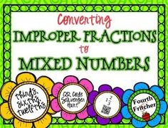 QR Code Activity: converting improper fractions to mixed numbers (thirds, sixths, twelfths).