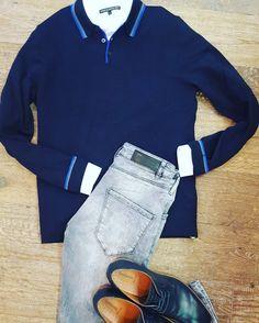 New arrivals. Fine knitwear polo + white shirt #Drykorn grey denim #Gabba Shoes #NeroGiardini #Male www.partnermode.nl