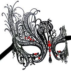 Burlesque-Boutique Women's Swan Metal Filigree Laser Cut Venetian Masquerade Mask, Black/Red Stones, One Size Luxury Mask http://www.amazon.com/dp/B00IDESSKY/ref=cm_sw_r_pi_dp_VvD.ub0GVNQ9X