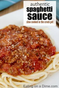 Try this delicious crock pot spaghetti sauce with meat that you can make just by tossing everything in your crockpot. This spaghetti sauce freezes great too!