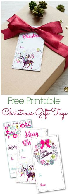 It is so easy to make your own Christmas or holiday gift tags! This year I designed my own Christmas gift tags and in the spirit of giving I'm sharing them so download your free printable christmas gift tags with bright colors and fun deer, wreath, and ornament designs! #ad #GraphicStock #FreeGraphics