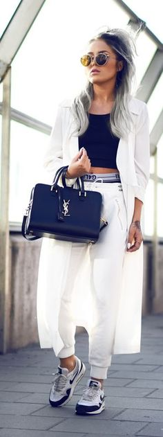 Black And White Urban Style by Angelica Blick Saint Laurent YSL monogram, leather handbags