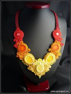 Yellow-orange-red soutache necklace SUNSET