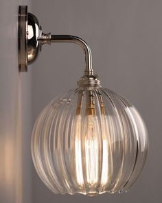 Clear Ribbed Glass Globe Pendant Ceiling Light - Hereford (industrial vintage designer retro style) Designer Lighting, Contemporary Wall Light With Ribbed Hereford Glass Globe Shade Indoor Wall Lights, Glass Wall Lights, Bathroom Wall Lights, Outdoor Wall Sconce, Ceiling And Wall Lights, Ceiling Pendant, Glass Walls, Wall Lamps, Bedroom Ceiling Lights