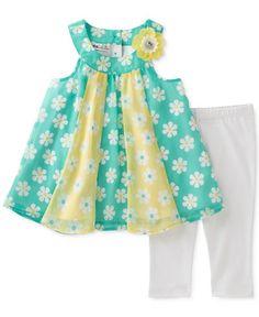 Kids Headquarters 2-Pc. Floral-Print Tunic & Capri Leggings Set, Baby Girls (0-24 months)