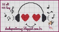 Cross Stitch Music, Cross Stitch Bookmarks, Cross Stitch Heart, Filet Crochet Charts, Knitting Charts, Bead Loom Patterns, Cross Stitch Patterns, Cross Stitching, Cross Stitch Embroidery
