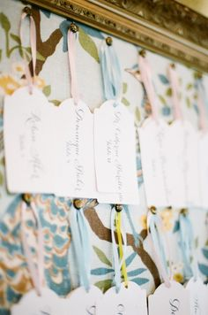 Great way to display your escort cards!  Use gift tags!
