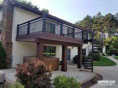 Covered Patio Design, Deck Repair, Black Deck, Backyard Renovations, Decking Material, Deck Builders, Custom Decks, Deck Railings, Deck Design
