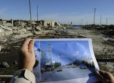 Surreal change: A man compares a picture of Lago Epecuen village taken in the 70's with the current state of the place - it was flooded on November 10, 1985