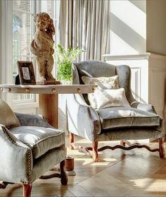 Restored Belgian Arm-chairs, Chevron Flooring - Minnie Peters