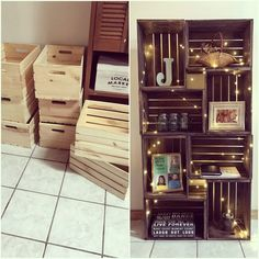 DIY Crate Bookshelf is part of Bookshelves diy - How to Make and Decorate! Crate Bookshelf, Wood Crate Shelves, Bookshelf Ideas, Organizing Bookshelves, Bookshelf Closet, Bookcase Plans, Bookshelf Design, Sweet Home, Diy Casa