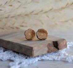 Raw earthy earrings reclaimed wood ear studs tree branch