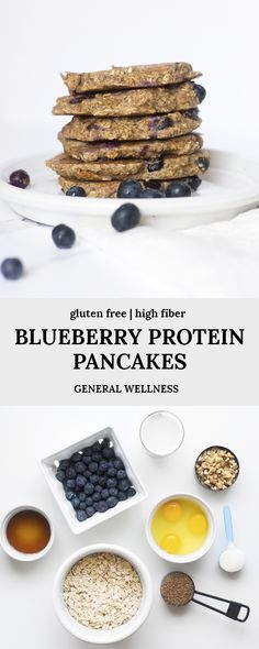 These blueberry protein pancakes have collagen peptides, ground flax seed, walnuts, and more for amazing benefits! These pancakes are a delicious and healthy gluten free breakfast recipe idea Low Sugar Desserts, Homemade Desserts, Delicious Desserts, Real Food Recipes, Snack Recipes, Dessert Recipes, Dessert Ideas, Gluten Free Recipes For Breakfast, Free Breakfast