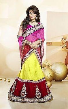 Lehenga Saree 3324 women dress Yellow Partywear Lehenga Sari