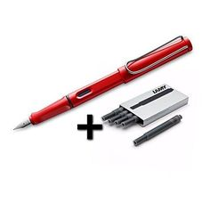 Lamy Safari Fountain Pen (16F) Hot Red  5 Black Ink Cartridges