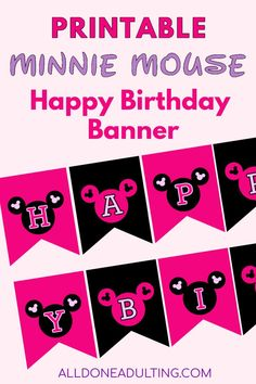 Throwing a Minnie Mouse Disney birthday party? Use this simple printable Minnie Mouse banner with a hot pink and black theme. Click to see a collection of Disney themed printable birthday banners! #printablehappybirthdaybannersdisney #minniemousebirthdaybanner #printabledisneybirthdaydecor Printable Birthday Banner, Happy Birthday Banners, Birthday Party Themes, Mickey Mouse Banner, Minnie Mouse Party, Disney Diy, Disney Crafts, Disney Mickey, Disney Themed Games
