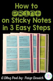 Awesome post about how to print on sticky notes.  Print on sticky notes for interactive read alouds, data collection or notes home.  This post gives step-by-step directions and makes this seemingly hard task easy.