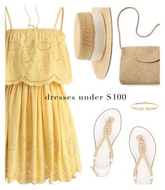 """Yellow Summer Dress"" by rasa-j ❤ liked on Polyvore featuring Chicwish, Nadri, MICHAEL Michael Kors, Mar y Sol, Kate Spade, Filù Hats, under100 and womensFashion"