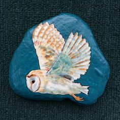 Any owl lovers on your gift list? I just added this one (and a bunch of other stuff) to my Etsy store, Alisonsart. #owl #barnowl #paintedrock #paintedstone #owlinflight #illustratorsoninstagram #acrylicpainting #dailyart