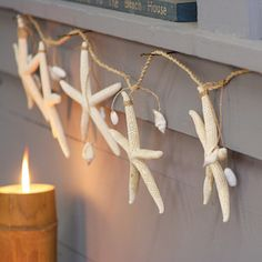 Bring the beach into your own backyard with this Seashell Garland. Made with real starfish and assorted shells, this rope-bound garland will add a hearty dose of coastal charm to any room or patio. All you'll need is a cool ocean breeze. Diy Home Decor For Apartments, Diy Home Decor Projects, Easy Home Decor, Cheap Home Decor, Decor Ideas, Dot And Bo, Beach Crafts, Diy Crafts, Decor Crafts