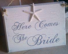 Beach Wedding Sign, 5 finger Starfish Here Comes The Bride Sign Nautical Wedding Decor Hawaii Wedding