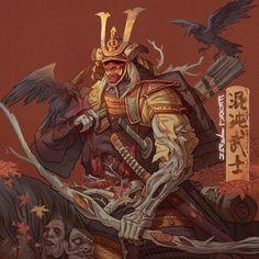 Fantasy Character Design, Character Art, Samurai Artwork, Ninja Art, Japanese Tattoo Art, Fantasy Rpg, Fantasy Inspiration, Japan Art, Katana