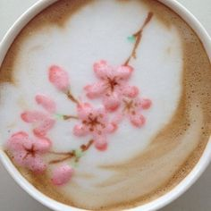 Lovely Sakura. OK! Now I'm wondering why I don't have cherry blossoms in my coffee :) ~ by Sorta, Wake up and Be Caffeinated