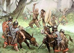 Germanic warriors ambushing Roman legions in Germania