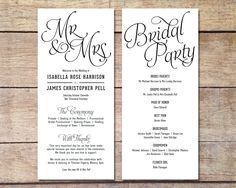 Simple Wedding Program Customizable by PaperRouteCollective