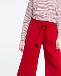 ZARA - WOMAN - CROPPED FLOWING STRIPED TROUSERS
