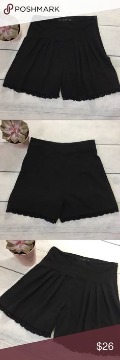 High Waist Pleated Black Zara Shorts Super comfortable and versatile size XS high waist style shorts from Zara. These black shorts have pleats down the front, side zipper, and crochet detailing at the hemline. Gently worn and in excellent condition (just missing materials tag on the inside). Zara Shorts