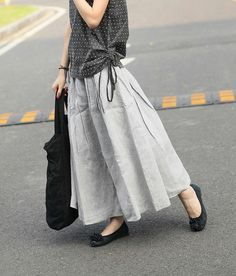 Long Linen Skirt in Grey Ruffle Maxi Skirt Dress by camelliatune