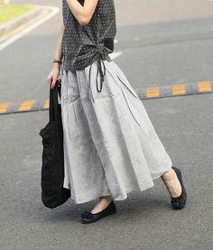 Long Linen Skirt in Grey Ruffle Maxi Skirt Dress