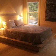 Floating Wood Platform Bed frame with Lighted Headboard-Quilmes Rustic Platform Bed, Floating Platform Bed, Platform Bed Frame, California King, Diy Bed Frame, Bed Frames, Diy Pallet Bed, Quality Furniture, Wood Colors