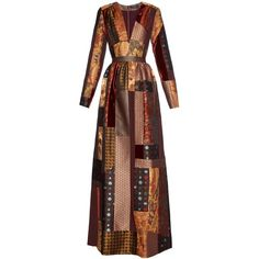 Etro Amy Lou patchwork-jacquard dress (35,100 MXN) ❤ liked on Polyvore featuring dresses, gowns, long dress, vestidos, orange multi, long brown dress, bohemian dress, full skirt, long orange dress and orange evening dress