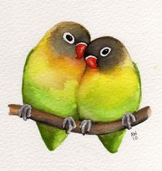 Lovebirds Original watercolour от wildsunart на Etsy