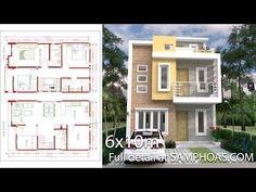 Home design plan 13x17m with 3 bedroom. Modern style two-storey house, 3 bedrooms, 4 bathrooms with modern architectural lines Make the house stand out With geometric shape design Perfectly consistent.