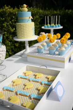 Blue and yellow sweet table for a first birthday. Love the stripes and polka dots.