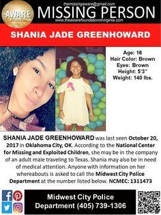 Find Missing Shania Jade Greenhoward!