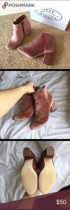 BRAND NEW Steve Madden Booties Blush pink heeled velvet booties! Brand new with box. Size 8. Bought these for New Years but ended up not wearing them. Style: Critic V. Steve Madden Shoes Ankle Boots & Booties
