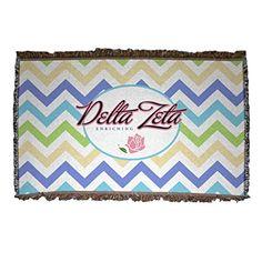 Delta Zeta Chevron Stripe Design Woven Blanket VictoryStore http://www.amazon.com/dp/B00PR4Y07S/ref=cm_sw_r_pi_dp_FFj8vb13J92H8