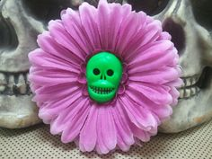 Purple & Green Skull Hair Flower Clip by GhastlyGoverness