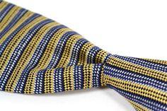 """TURNBULL & ASSER Blue Gold White Woven Stripe 100% Silk Mens Tie - 3.75"""" #TurnbullAsser #NeckTie"""
