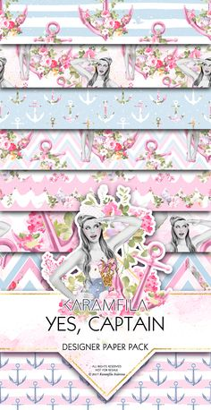 Pink Nautical Digital Paper Sailors Seamless Patterns Romantic Summer Digital Paper Pinup Girl Anchor with Flowers Planner Stickers Printable Supplies Scrapbook DIY Paper Crafts by Karamfila on Creative Market