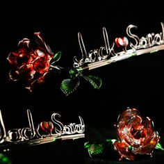 Gift of Glass Blown Glass Art, Red Roses, Names, Display, Sculpture, Christmas Ornaments, Holiday Decor, Handmade, Gifts