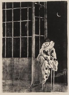 notes to myself - iamjapanese: Ethel. Circus Aesthetic, Pierrot Clown, Different Kinds Of Art, Black White Art, Moon Art, French Art, Pretty Art, Figurative Art, Art Sketches