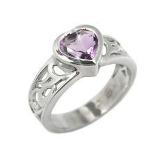 Stříbrný prsten Silvego srdce s pravým Ametystem RSG36062 velikost 60