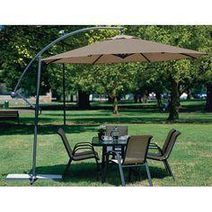 10 Foot Mocha Offset Patio Canopy Umbrella Rotates 360 Degrees