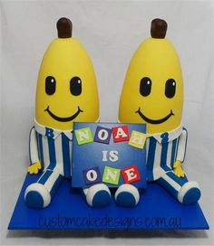 Bananas in Pajamas - Cake by Custom Cake Designs Banana In Pyjamas, Gravity Defying Cake, Pajama Party, Fancy Cakes, Custom Cakes, Cake Designs, Bananas, Party